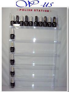 Nail Polish Wall Rack Display Acrylic Hold Up 60 Bottles With Header Design Ebay