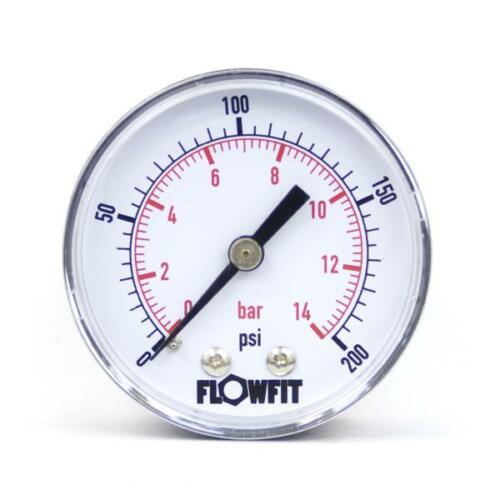 50mm Pressure Gauge Rear Entry 0-200 PSI AIR AND OIL-Free UK Delivery