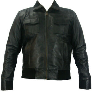 UNICORN-Mens-Real-Leather-Bomber-Jacket-Brown-S-to-4XL-D7