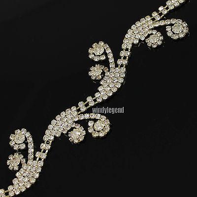 1 Yard Flower Rhinestone Golden Chain Costume Fascinating Applique Sewing Trims