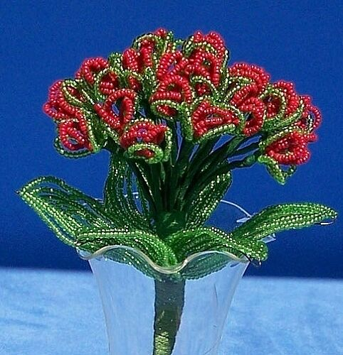 Vintage French Glass Beaded Red Forget Me Not Flower Bouquet