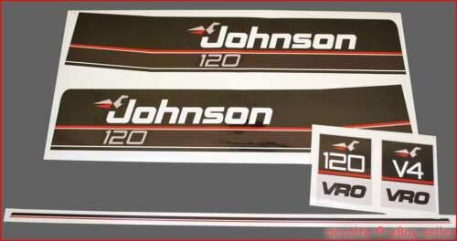 JOHNSON 1989 1990 120 HP V4 Motor Horse Power VRO Laminated Vinyl Decals Sticker