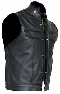 Cut-off-Cowhide-Leather-Mens-Womens-Vest-Waiscoat-Gilet-Biker-Motorcycle
