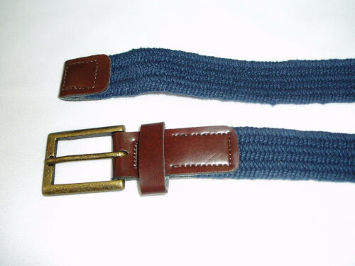 "1.00 Boys Girls Stretch Elastic Weave Braided Belt 1/"" leather Tabs New"