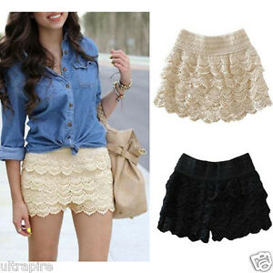 New-Black-Beige-Dress-Sweet-Cute-Crochet-Tiered-Lace-Shorts-Skirts-Short-Pants-J
