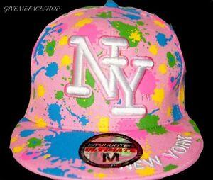 Colori-Splash-Rosa-Visiera-piatta-cappellini-Baseball-NY-multi-aderente-cappelli