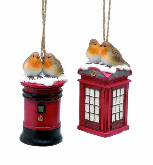 Set of 2 Robin Hanging Tree Decorations with Phone & Post Box NEW  17160