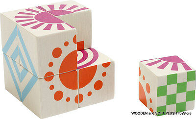 WOODEN BLOCKS EDUCATIONAL TOY BLOCKS PUZZLES CUBE GRAPHICS & COLOR PATTERNS *NEW
