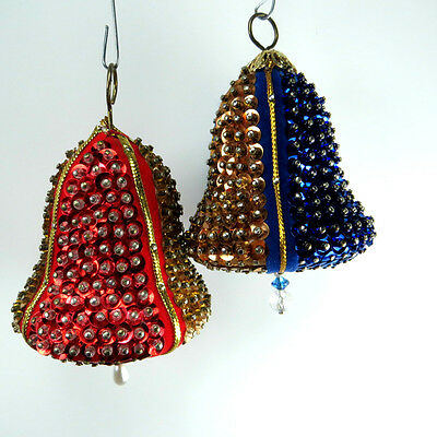 Vintage Sequin Beaded Christmas 2 Bell Ornaments 1960's Era Gold Red Blue