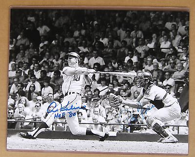 Detroit Tigers Al Kaline HR 11 x 14 Photo Signed by Kaline & Ray Fosse Cleveland