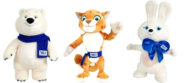 A set plush Sochi 2014 Olympics mascots: Bunny 8' Leopard 9' Polar bear 10'