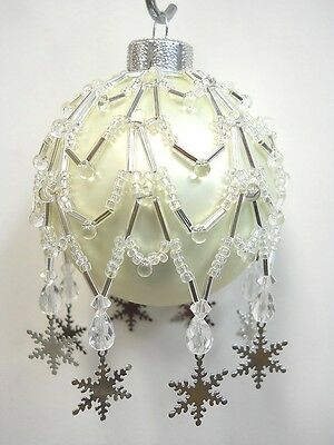 """PATTERN ONLY Beaded Christmas Ornament Cover """"Charmed Snow Flake"""""""