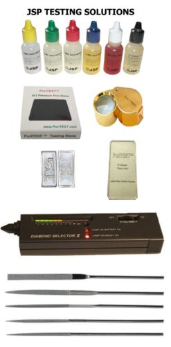 GOLD SILVER TEST KIT + Diamond Tester for Testing Scrap Jewelry Rings Coins Bars