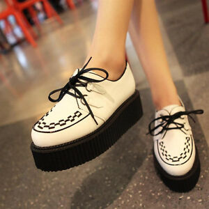Womens-Shoes-PU-Leather-Oxfords-Lace-Up-High-Platform-Flat-Creeper-Shoes-Sneaker
