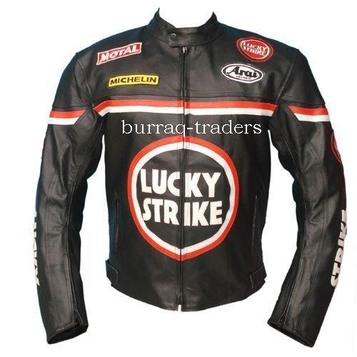 Lucky Strike Black Motorcycle Biker 100% Genuine Leather Jacket: All Sizes