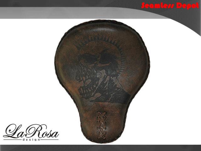 "16"" LaRosa Rustic Brown Leather Death Punk Harley FXST Chopper Custom Solo Seat"