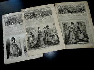 1876 La Mode Illustree France French Fashion Great Illustrated Lot 3 Magazines