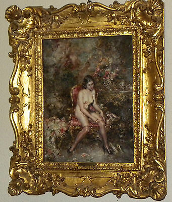 ANTIQUE SPANISH SCHOOL OIL CANVAS PAINTING NUDE BEAUTY BY PABLO SALINAS 19TH