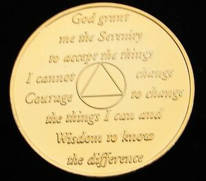 24K Gold Plated Alcoholics Anonymous 6 Year Medallion Coin Token Chip Sobriety