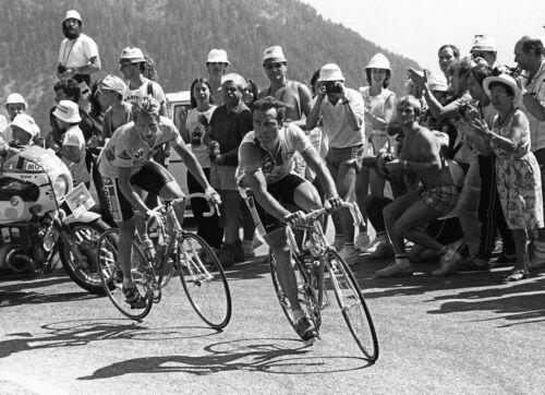GREG LEMOND & BERNARD HINAULT TOUR DE FRANCE 1986 ALPE D'HUEZ POSTER