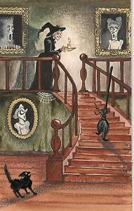 FOLK ART RYTA HALLOWEEN PRINT OF ORIGINAL PAINTING WITCH ...