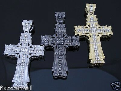 ICED OUT GOTHIC CROSS CZ PENDANT HIPHOP BLING COLOR: SILVER / GOLD / GUNMETAL