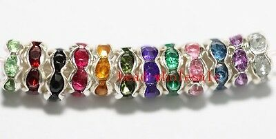 Free Shipping 100pcs Mixed Rondelle Acrylic Crystal Rhinestone Beads Spacer 6mm