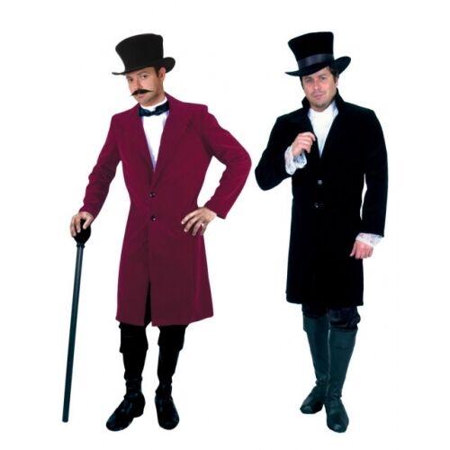 ADULT MENS BLACK RED GENTLEMAN JIM FROCK COAT 19TH CENTURY VICTORIAN COSTUME