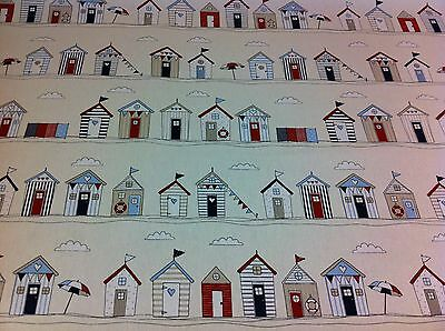 FRYETT`S  Cotton BEACH HUT BLUE .SEASIDE Fabric for Curtain/Upholstery,Quilting