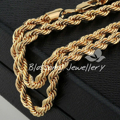 "9K 9CT GOLD GF 3D Rope CHAIN Mens Womens NECKLACE 24"" 55.9gram HEAVY S19A"
