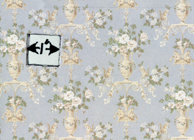 Du Barry 204D23 blue minigraphics dollhouse wallpaper 1pc 1/12 scale