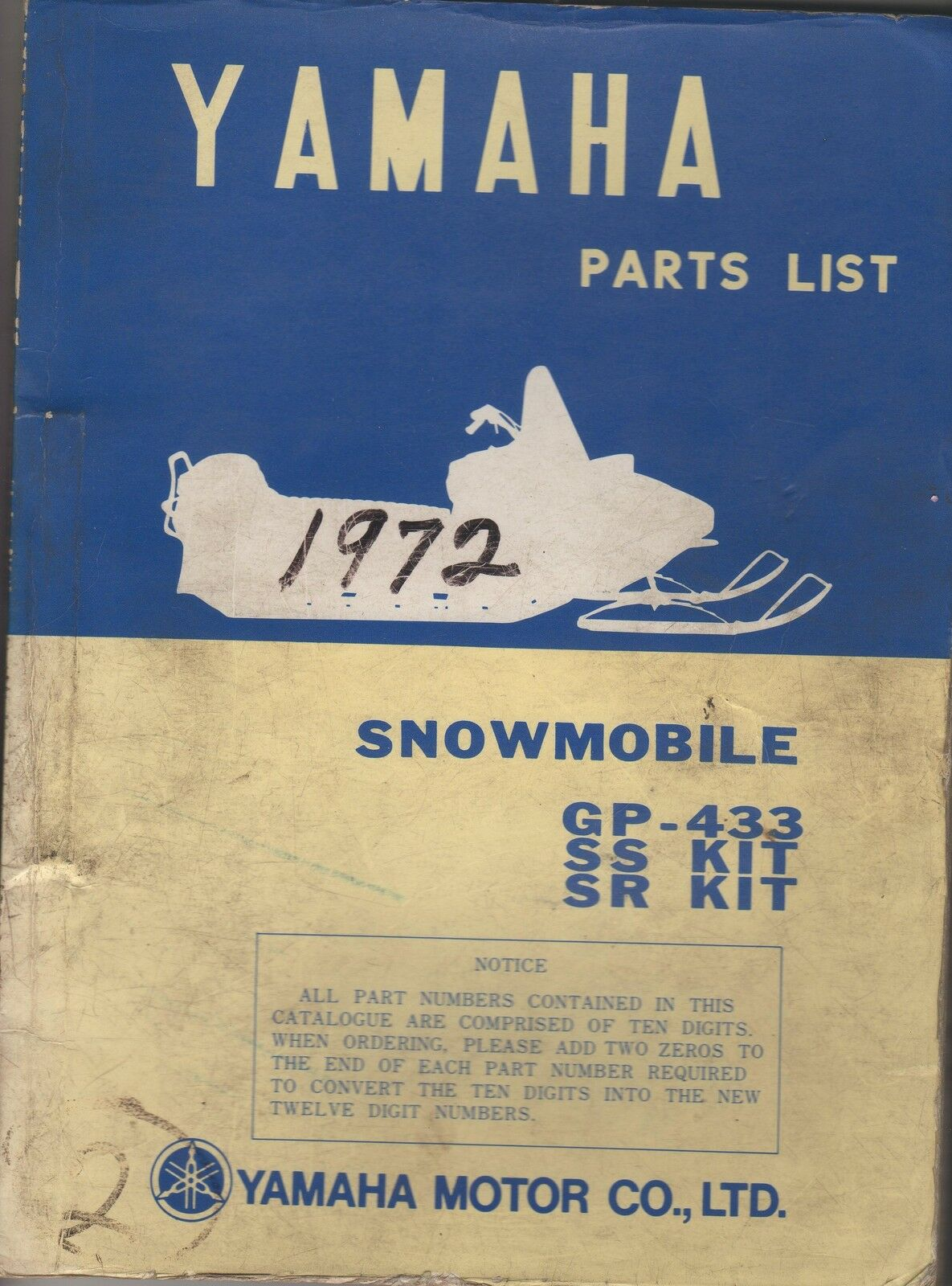 1972 VINTAGE YAMAHA SNOWMOBILE GP-433, SS KIT, SR KIT  PARTS MANUAL