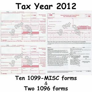 Ten 1099-MISC Miscellaneous Income 2014 IRS Tax Forms