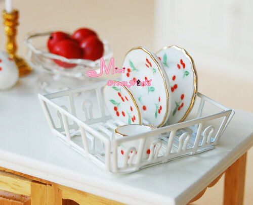 White Metal Dish Rack Dinning 1:12 Dollhouse Miniature DK36