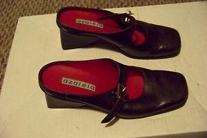 womens azaleia brown leather mary jane weird wedge heels ...