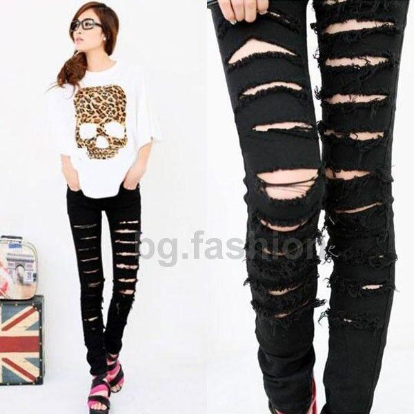Sz S M L Womens Cut Out Ripped Punk Skinny Pants Jeans Leggings Trousers Black