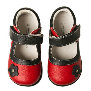 Little-Blue-Lamb-Red-Flower-Mary-Janes-Leather-Shoes-Toddler-Girl-Sz-6-to-10-New