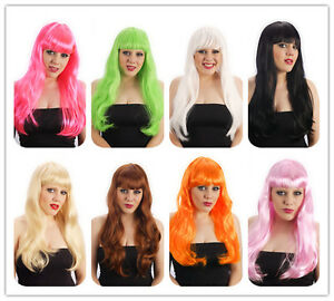 Black-White-Blonde-Brown-Orange-Green-Baby-Hot-Pink-Fringed-Long-wig-Fancy-Dress