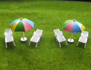 YZ8702-4-Sets-Model-1-87-Color-Parasols-and-Sun-Loungers-Beach-Chairs-HO-OO
