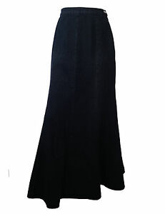 LADIES COTTON FULL LENGTH BLACK LONG DENIM SKIRT UK SIZE 10 - 22 NEW
