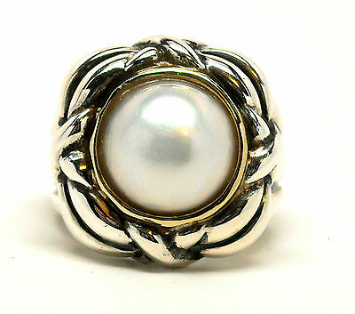 NEW Beautiful Sterling Silver 14K Gold Ring w/ Big Mabe White Pearl Retail $295