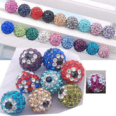 10pcs Czech Crystal clay Rhinestones Pave Round Ball bead Spacer 10mm macrame