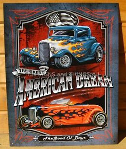 American Dream hot rod TIN SIGN vtg auto metal wall decor bar ...