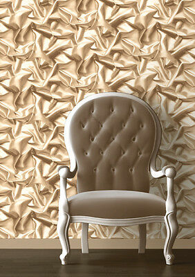 3d Effect, Ivory/Gold, Featurewall Wallpaper (Paste the Wall) Muriva F72907