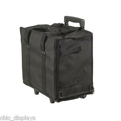 TRAVEL ROLLING CASE JEWELRY DISPLAY CASE CARRING CASE w/WHEELS + FREE 2 TRAYS