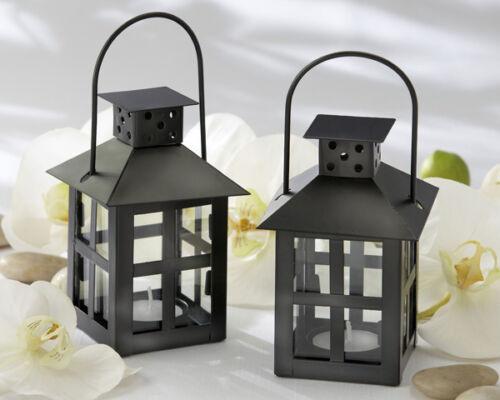 25 Luminous Black Mini Lantern Tea Light Holder Wedding Favors Table Decor