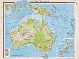 1941 MAP  AUSTRALIA PHYSICAL  INSET NEW ZEALAND NEW GUINEA