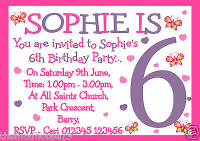 Girls Personalised Heart and Butterflies Birthday Party Invitations x 10