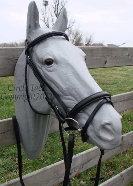NEW Full Solid Black English/Dressage Bridle Flash, Padded & Raised Free Ship!