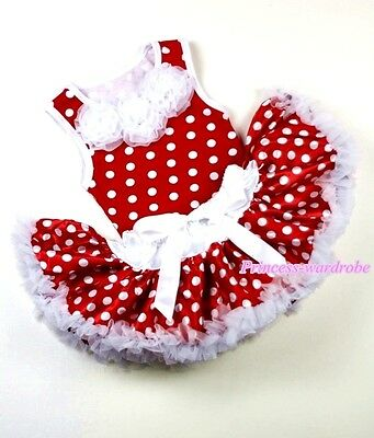 Xmas Baby White Minnie Polka Dots Pettiskirt Skirt Tutu Minnie Top Set 3-12Month